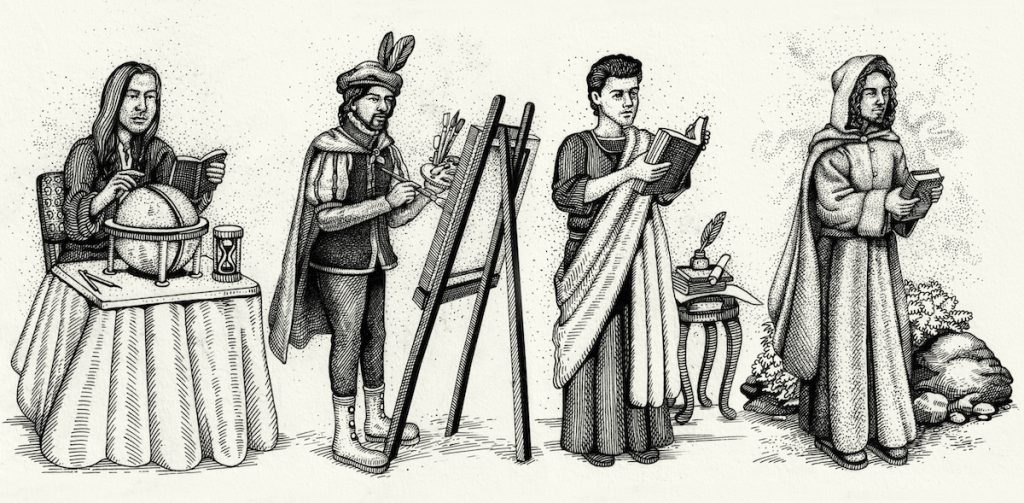 illustration of the four suitors